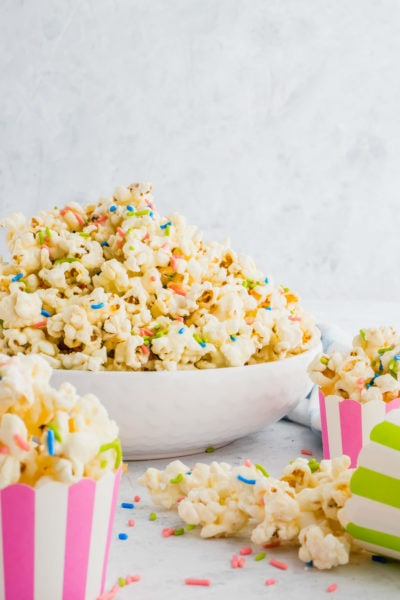 christmas white chocolate funfetti popcorn by top Houston lifesyle blogger Ashley Rose of Sugar and Cloth #recipes #entertaining #idea