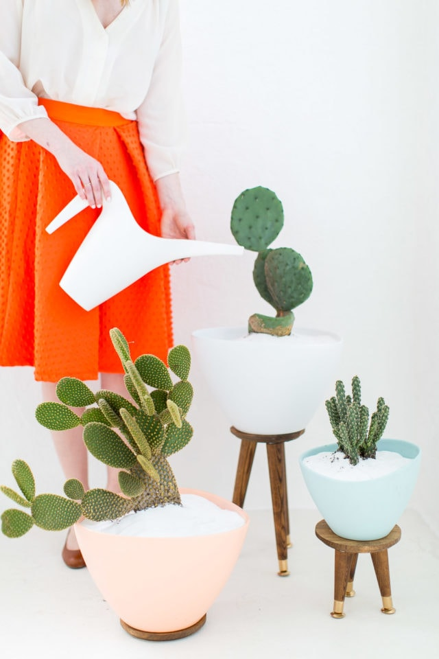 DIY Mid Century Planters & Stand by top Houston lifestyle blogger Ashley Rose of Sugar & Cloth