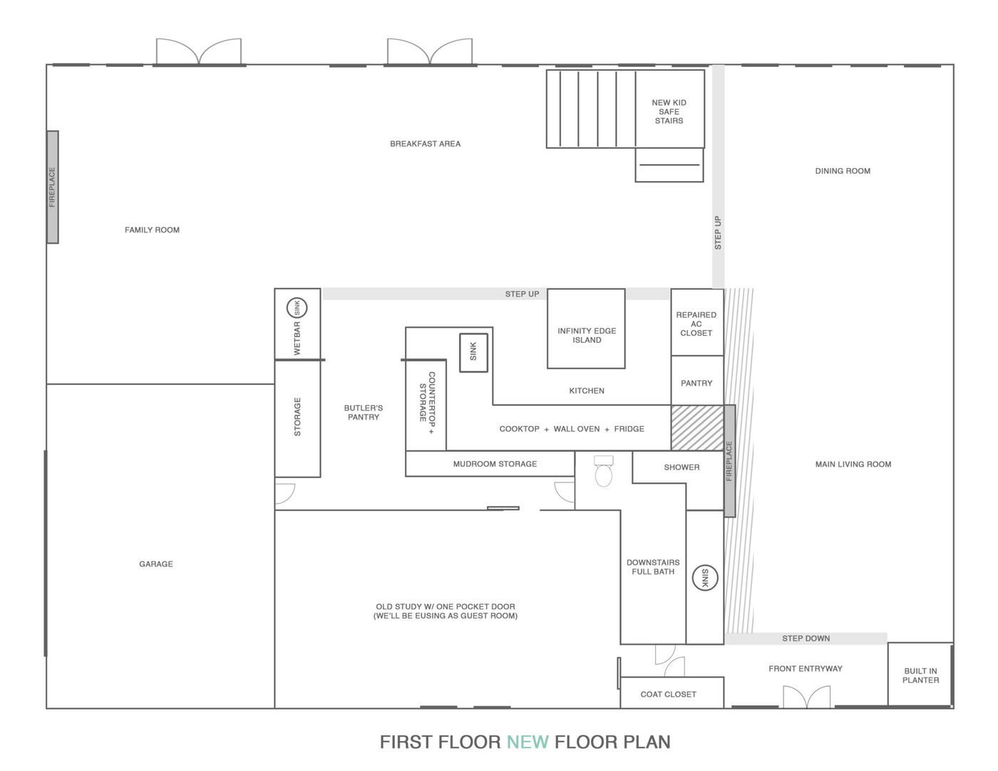 our new final plans for the new house first floor! Sugar & Cloth Casa: Renovation Update + Floor Plans for First Floor! by top Houston lifestyle blogger Ashley Rose of Sugar & Cloth #homedecor #interiors #design #interiordesign #floorplans #renovation #ideas