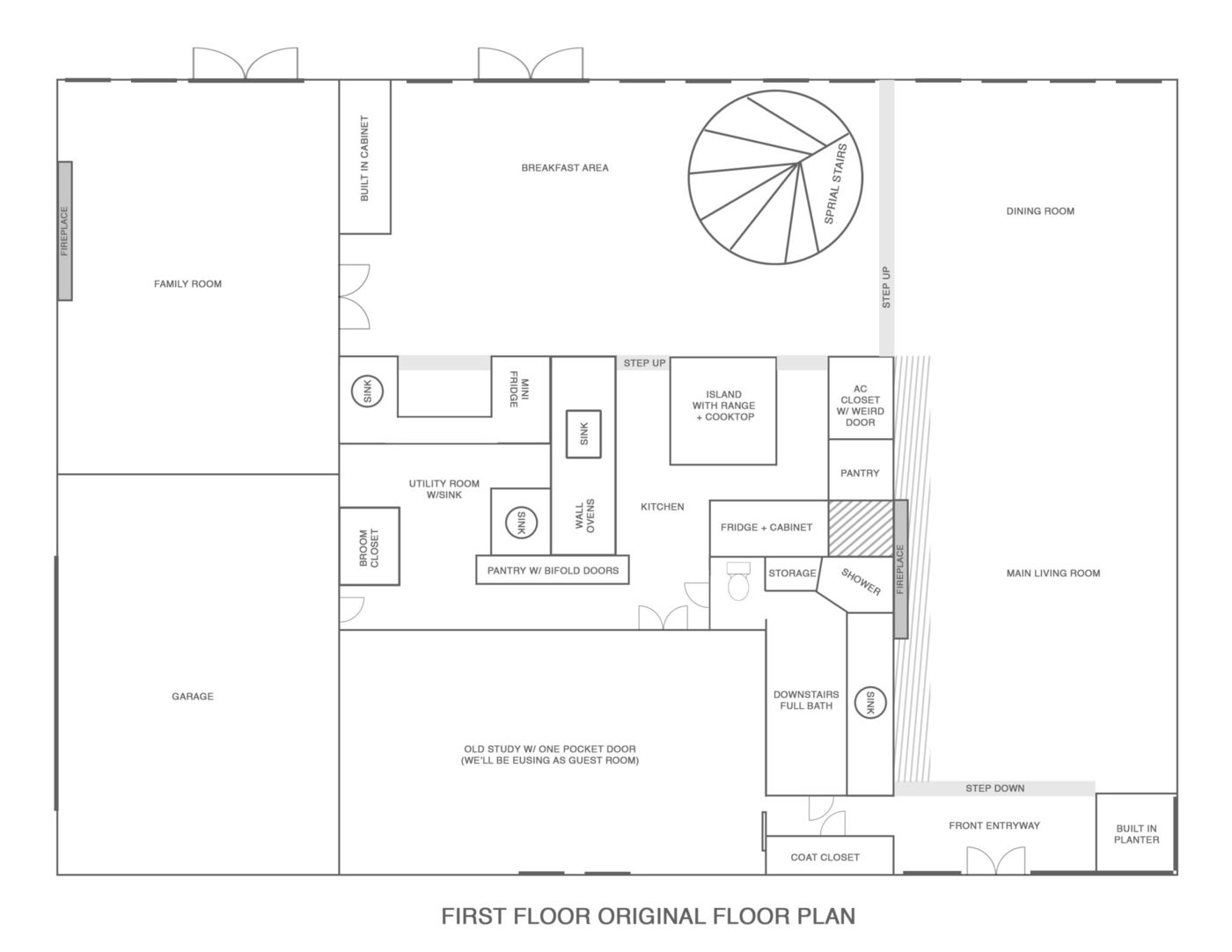 the original layout of our new house - Sugar & Cloth Casa: Renovation Update + Floor Plans for First Floor! by top Houston lifestyle blogger Ashley Rose of Sugar & Cloth #homedecor #interiors #design #interiordesign #floorplans #renovation #ideas