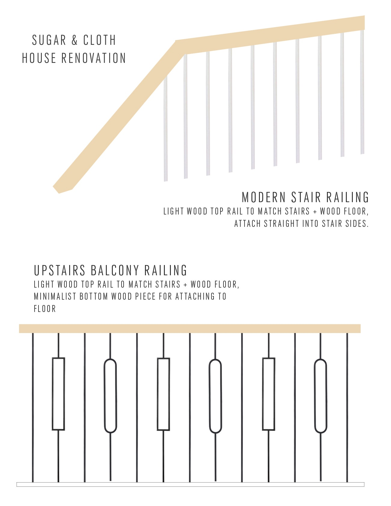 new design renderings for railings - a view of the old balcony - Sugar & Cloth Casa: Updating An Old Staircase by top Houston lifestyle blogger Ashley Rose of Sugar & Cloth