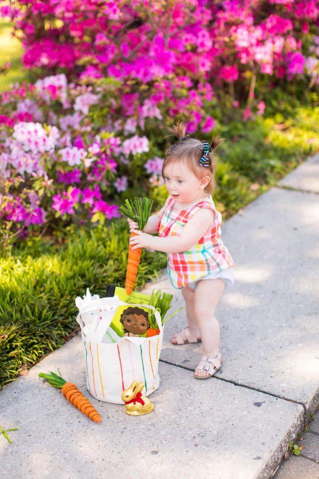 Gwen, Lindt & Crate & Barrel Easter Basket by top Houston lifestyle blogger Ashley Rose of Sugar & Cloth