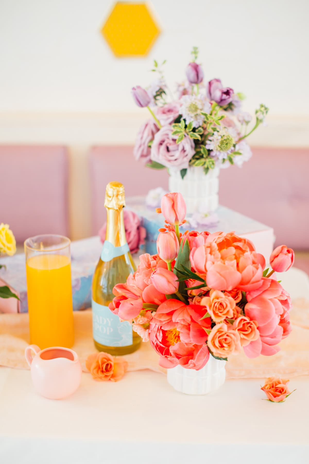 Gorgeous blooms - A Perfectly Pastel Easter Table Idea by top Houston lifestyle blogger Ashley Rose of Sugar & Cloth #diy #tablescape #ideas #easter #pastel #party #decorations #brunch #bridalshower #bridal #shower #baby