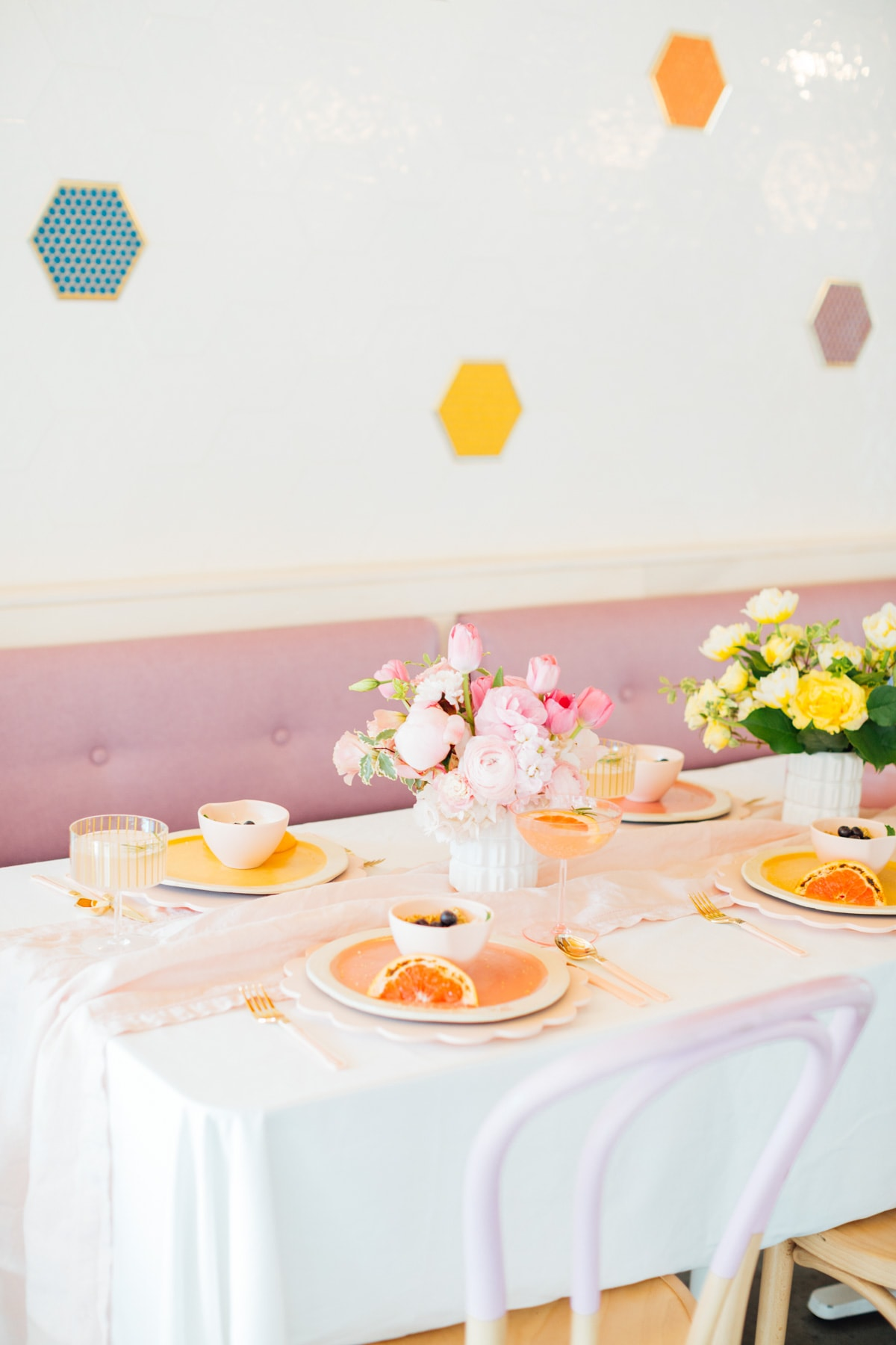 brunch inspiration! A Perfectly Pastel Easter Table Idea by top Houston lifestyle blogger Ashley Rose of Sugar & Cloth #diy #tablescape #ideas #easter #pastel #party #decorations #brunch #bridalshower #bridal #shower #baby
