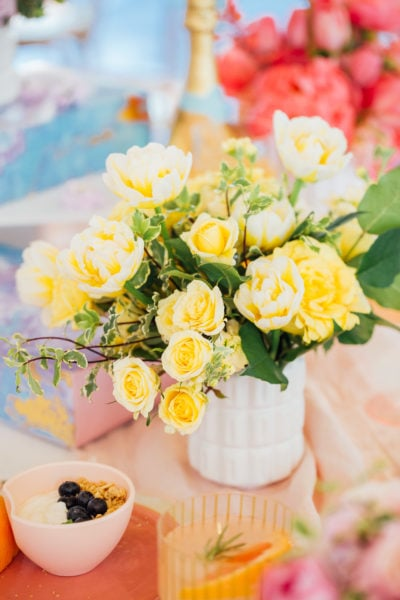 color blocked flowers - A Perfectly Pastel Easter Table Idea by top Houston lifestyle blogger Ashley Rose of Sugar & Cloth #diy #tablescape #ideas #easter #pastel #party #decorations #brunch #bridalshower #bridal #shower #baby
