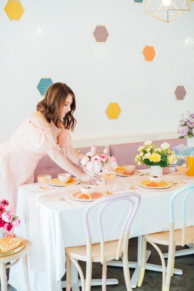 pastel tablescape - A Perfectly Pastel Easter Table Idea by top Houston lifestyle blogger Ashley Rose of Sugar & Cloth #diy #tablescape #ideas #easter #pastel #party #decorations #brunch #bridalshower #bridal #shower #baby