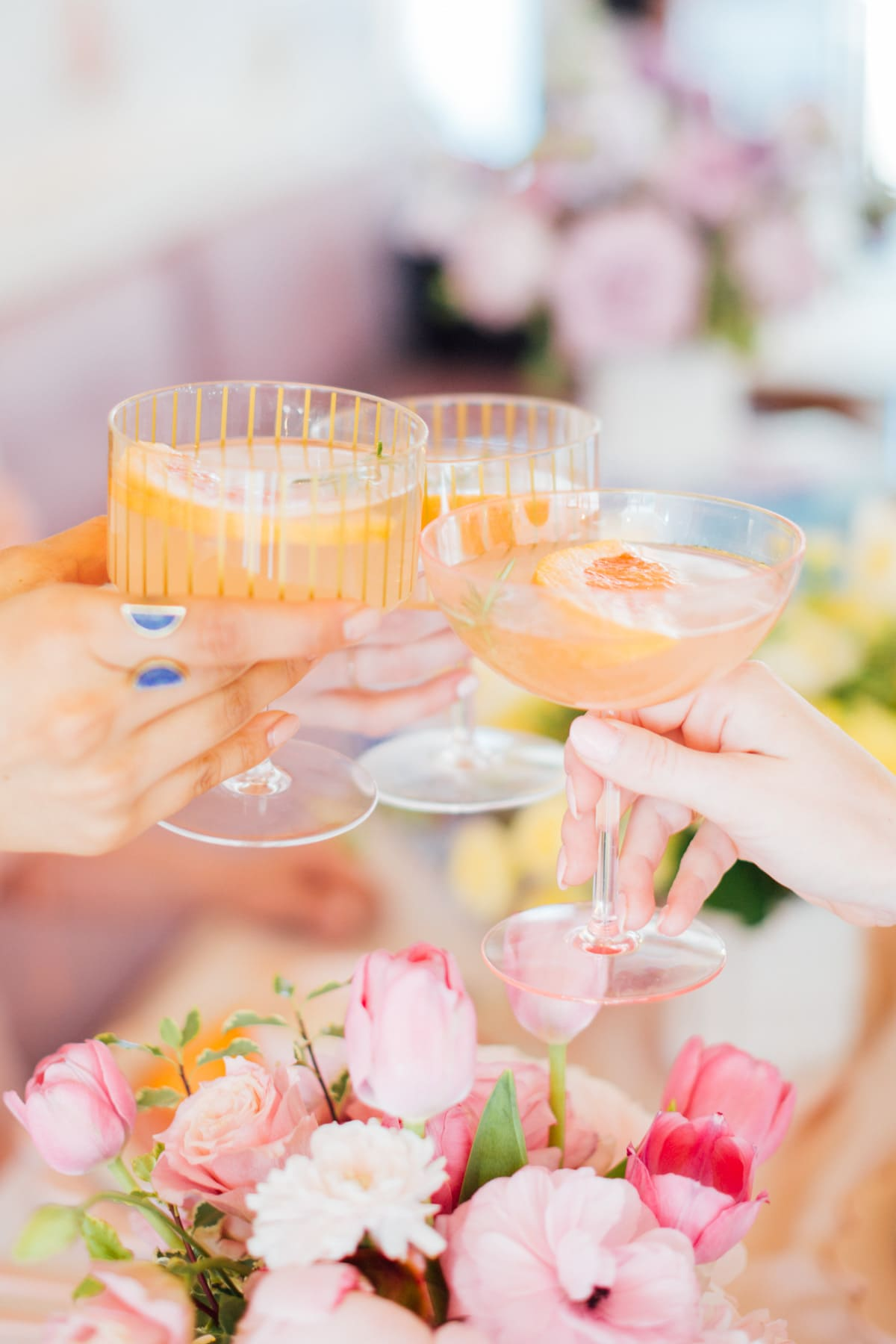 brunch cocktails! - A Perfectly Pastel Easter Table Idea by top Houston lifestyle blogger Ashley Rose of Sugar & Cloth #diy #tablescape #ideas #easter #pastel #party #decorations #brunch #bridalshower #bridal #shower #baby