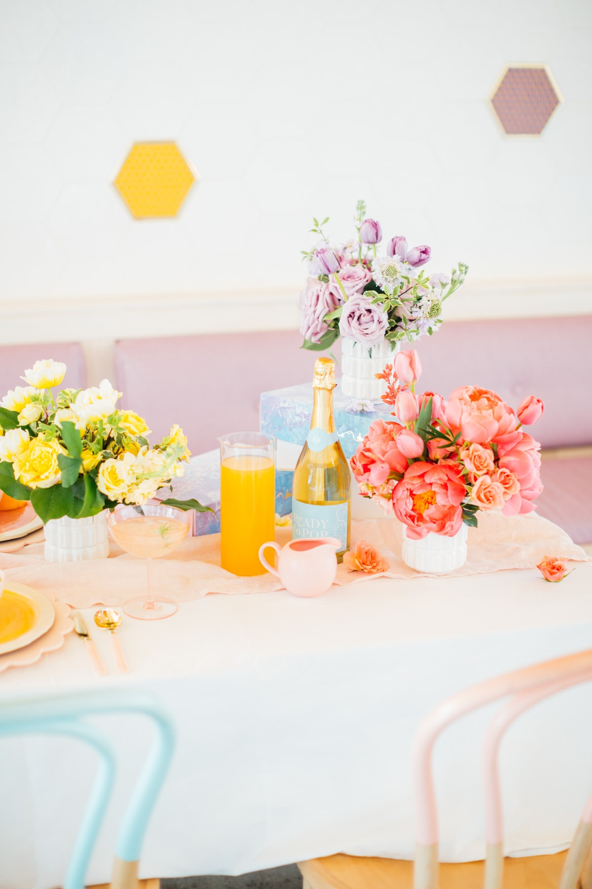Ready to Pop Champagne - A Perfectly Pastel Easter Table Idea by top Houston lifestyle blogger Ashley Rose of Sugar & Cloth #diy #tablescape #ideas #easter #pastel #party #decorations #brunch #bridalshower #bridal #shower #baby