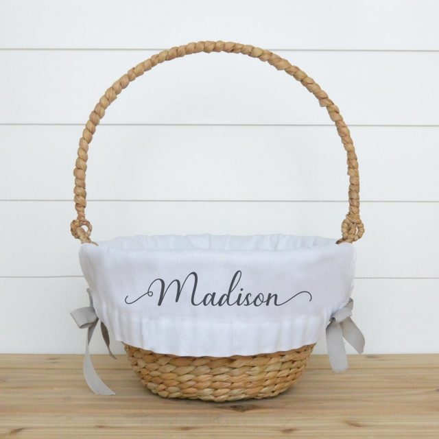 photo of the Personalized Easter Basket Liner by top Houston lifestyle blogger Ashley Rose of Sugar & Cloth