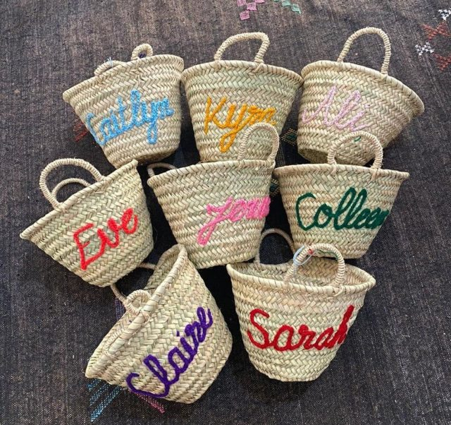 photo of the Personalized Monogram Straw Basket by top Houston lifestyle blogger Ashley Rose of Sugar & Cloth