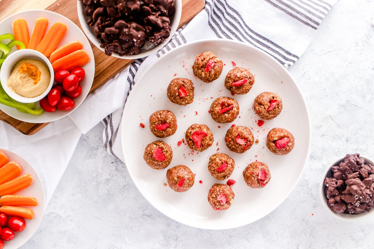 Strawberry Almond Energy Balls Recipe Healthy Snack by top Houston lifestyle blogger Ashley Rose of Sugar & Cloth