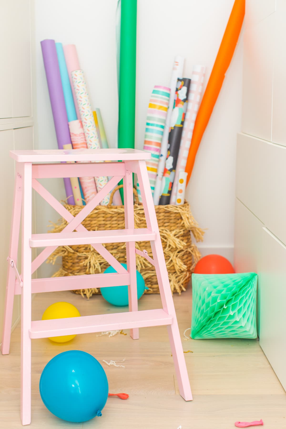 a pink ladder! A Peek Inside My New Studio & Craft Closet by top Houston lifestyle blogger Ashley Rose of Sugar & Cloth #design #organizing #interiors #craft #craftroom