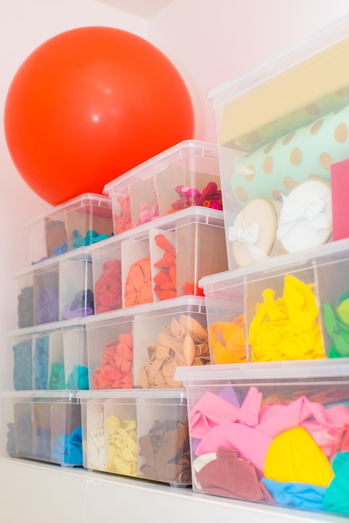 balloon organization - A Peek Inside My New Studio & Craft Closet by top Houston lifestyle blogger Ashley Rose of Sugar & Cloth #design #organizing #interiors #craft #craftroom