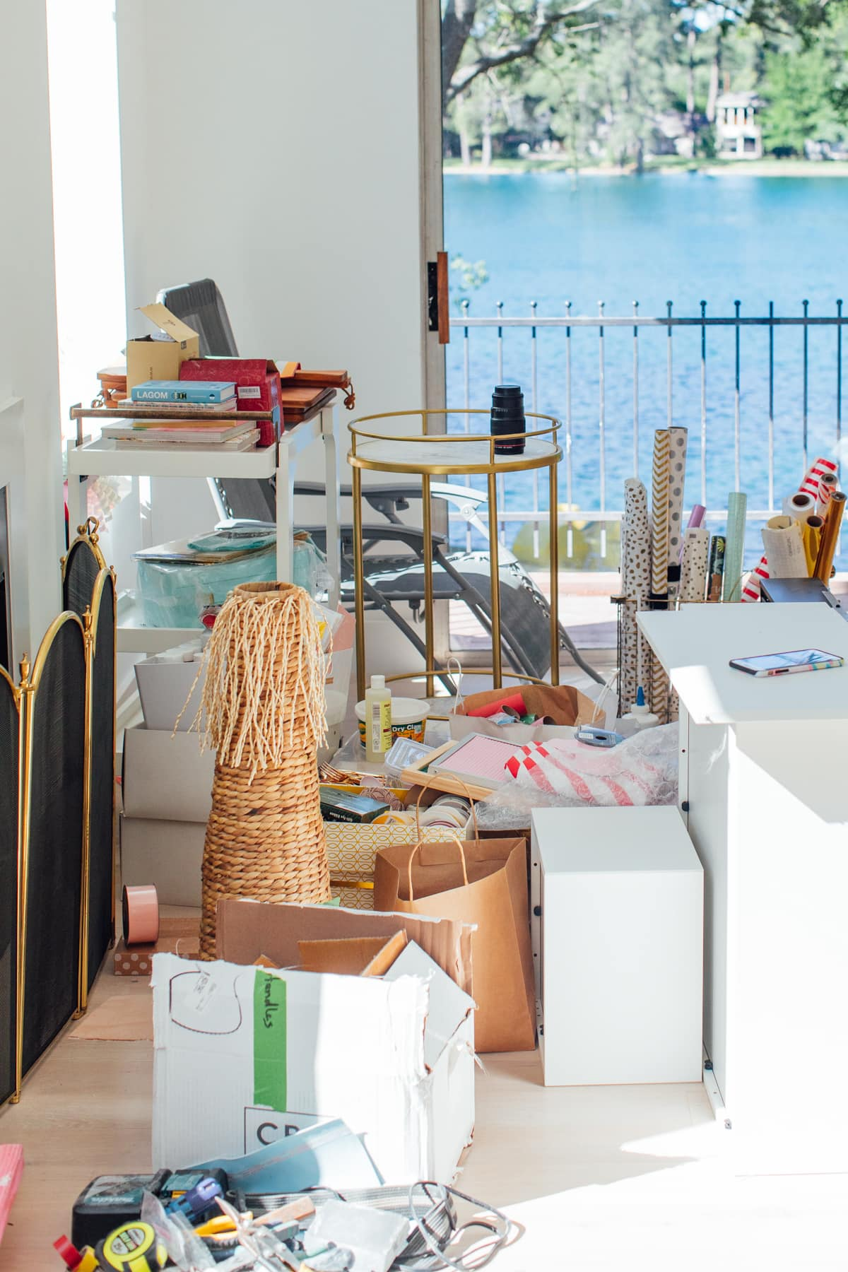 the messy part of my studio! A Peek Inside My New Studio & Craft Closet by top Houston lifestyle blogger Ashley Rose of Sugar & Cloth #design #organizing #interiors #craft #craftroom
