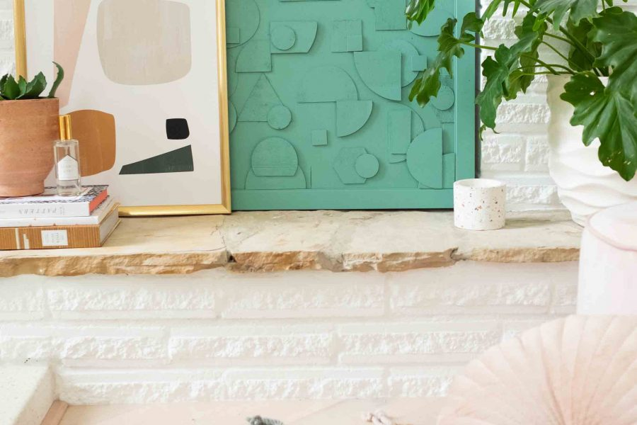 This DIY abstract wood artwork is SUPER simple to make, but it packs a big punch on how expensive it looks! Plus I'm teaching you how to cut wood easily into shapes with Cricut! by top Houston Lifestyle blogger Ashley Rose of Sugar & Cloth #design #diy #wood #art #decor #interiors