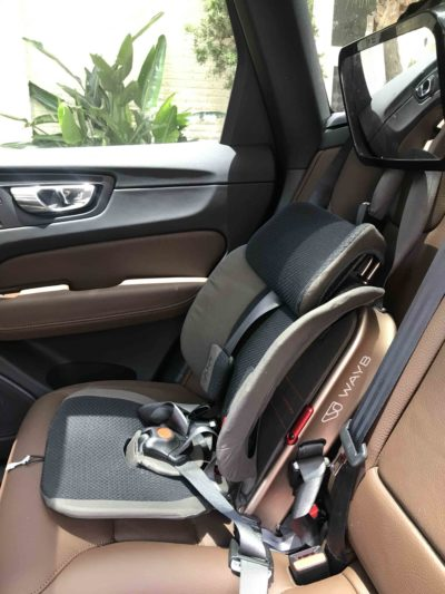 A portable convertible car seat thats folding called Wayb!