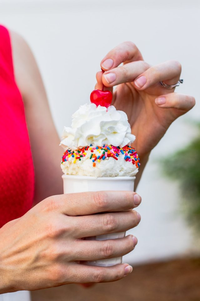 photo of an Easy Vanilla No Churn Ice Cream recipe for your summer party by top Houston lifestyle blogger Ashley Rose of Sugar & Cloth