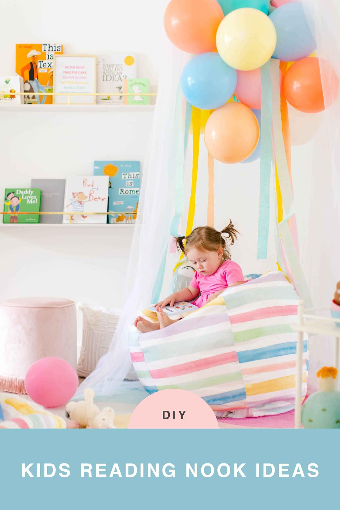 Sharing how to make this DIY book nook with a few colorful reading nook ideas to make it your own! #decor #kids #diy #reading by top Houston lifestyle blogger Ashley Rose of Sugar & Cloth