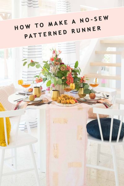photo with text header for the patterned diy table runner