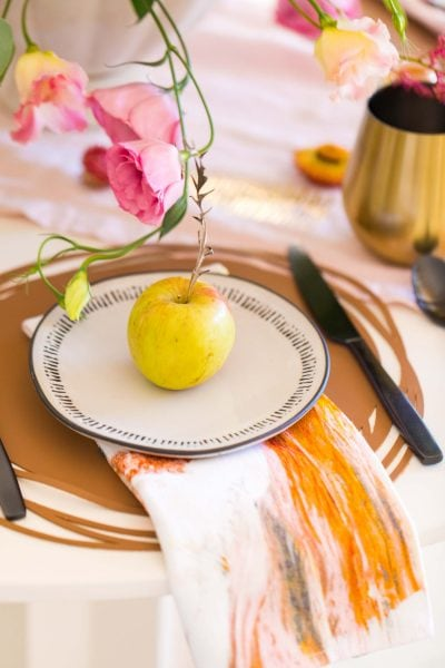 side view photo of a final place setting with my DIY leather placemats by sugar and cloth