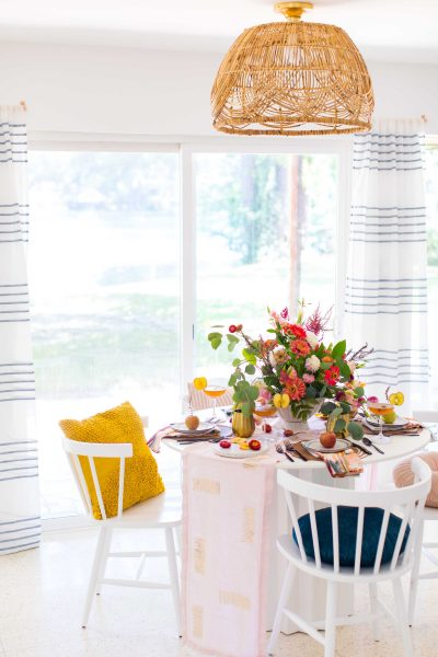 picture of a basket pendant light over top of fall decorating ideas on a table by sugar and cloth