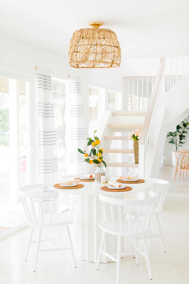 a farther away picture of the DIY basket pendant light by Sugar & Cloth