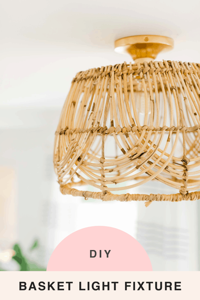 a closeup picture with a text title of the finished DIY basket pendant light by Sugar & Cloth