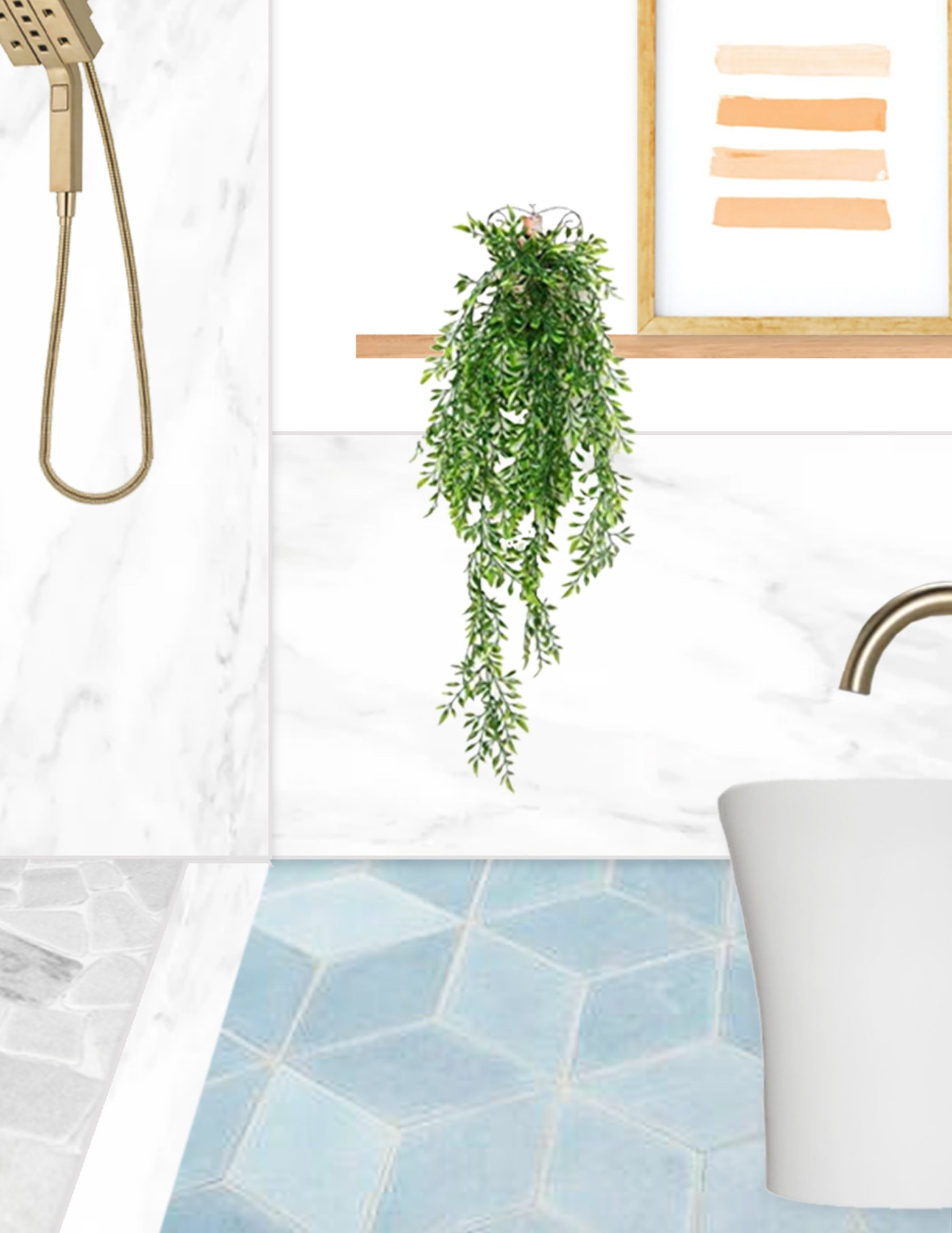 an illustrated photo of what the new master bathroom design ideas will look like by sugar and cloth