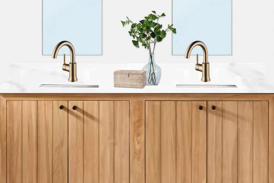 an illustrated photo of what the new master bathroom design ideas for the vanity will look like by sugar and cloth