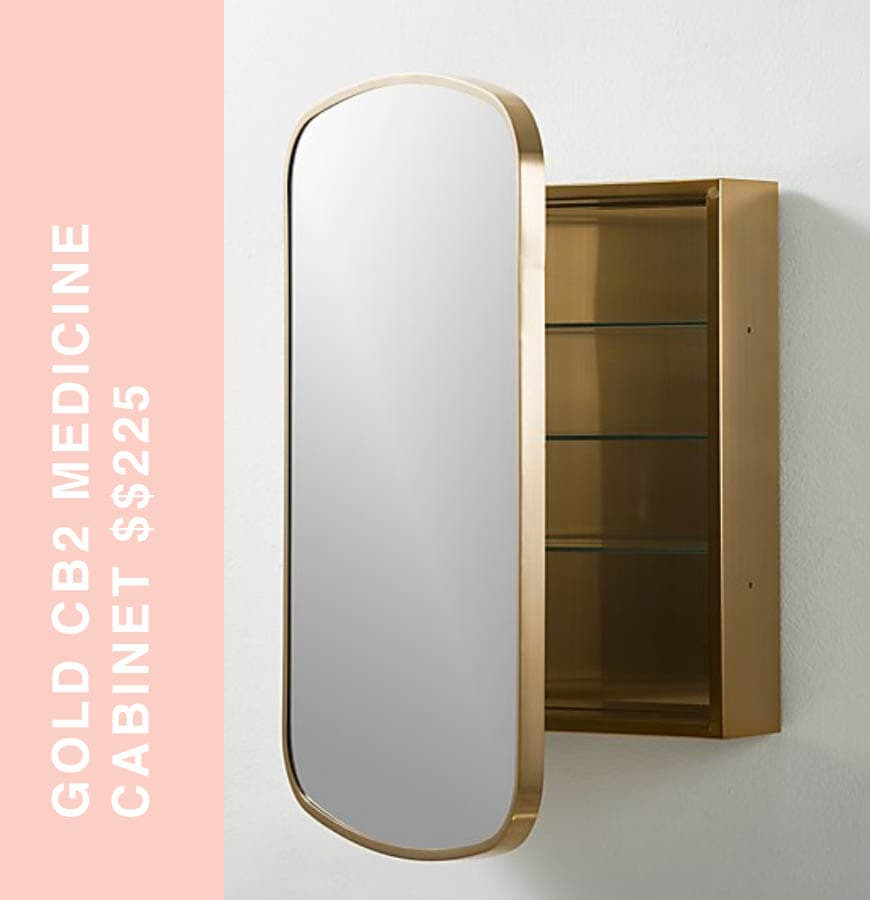 cb2 gold medicine cabinet