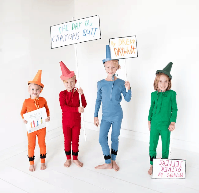 photo of 4 kids dressed as crayons