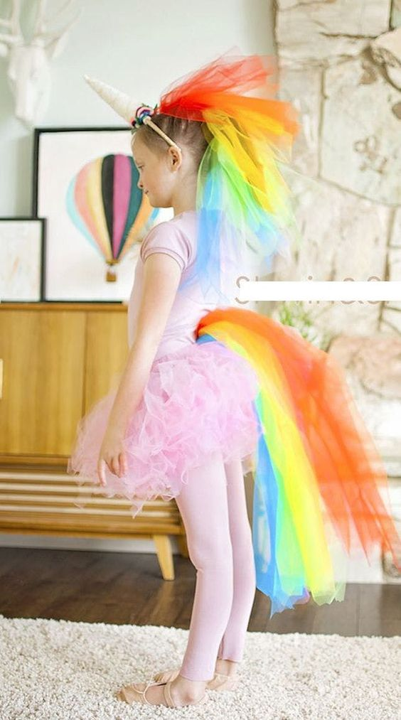 DIY Rainbow unicorn Halloween costume for kids