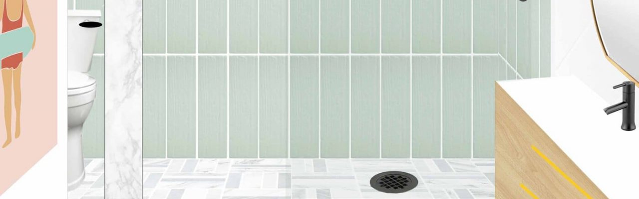 mockup layout of the the new guest bathroom design idea by sugar and cloth
