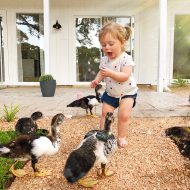 photo of Gwen feeding the ducks by the lake in our backyard