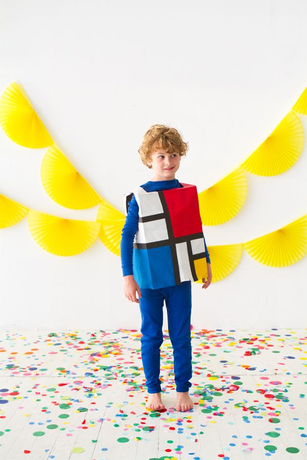DIY Mondrian painting Halloween costume for kids