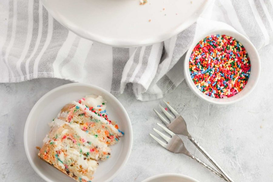 photo of cake slices on plates with sprinkles