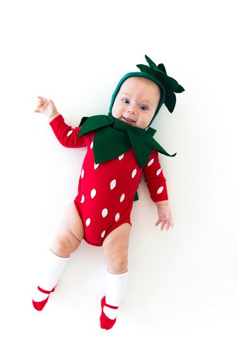 Strawberry DIY Halloween costume for babies