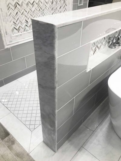 photo of an example shower wall install at Tile Shop by sugar and cloth
