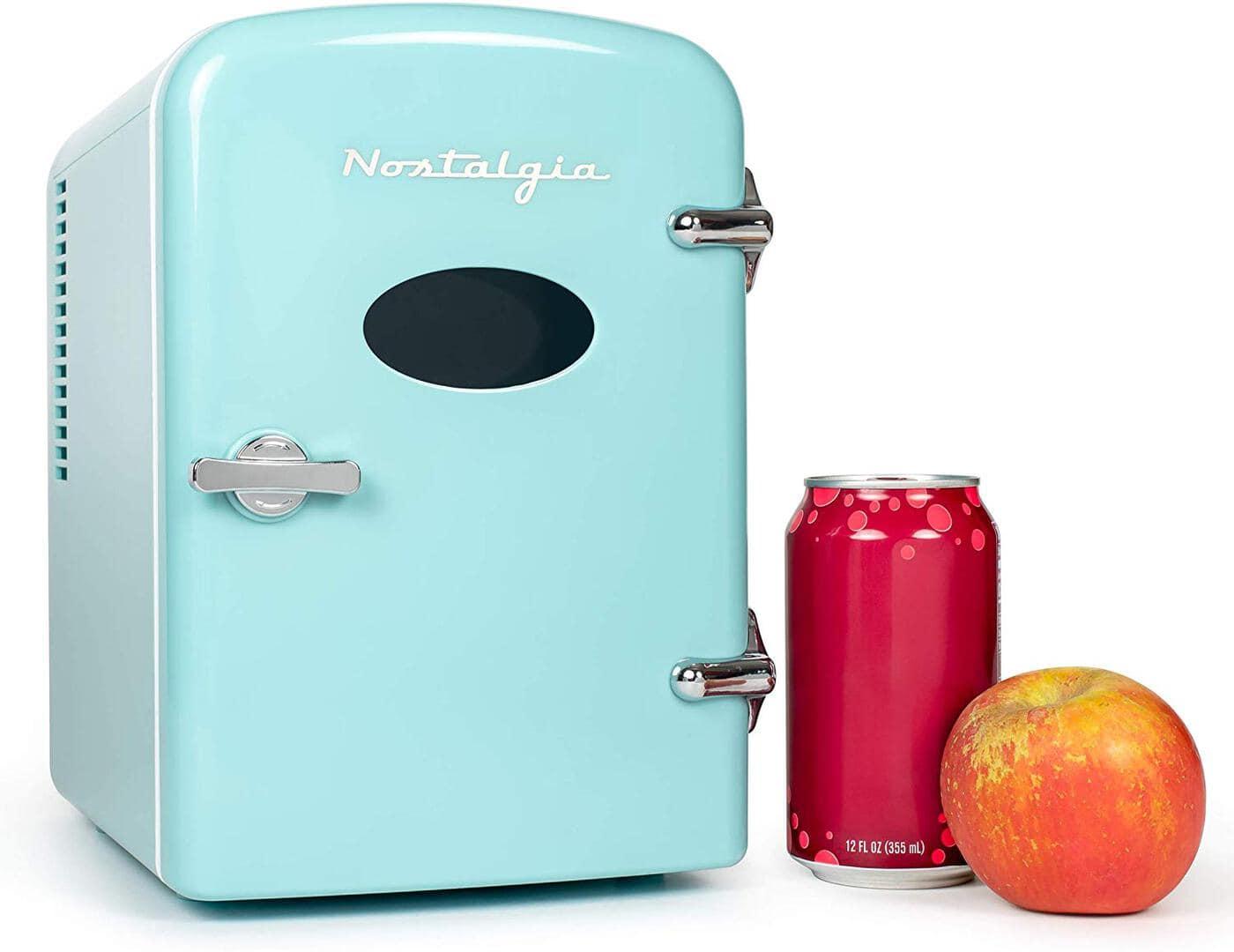 photo of a very mini retro fridge as a white elephant gift idea