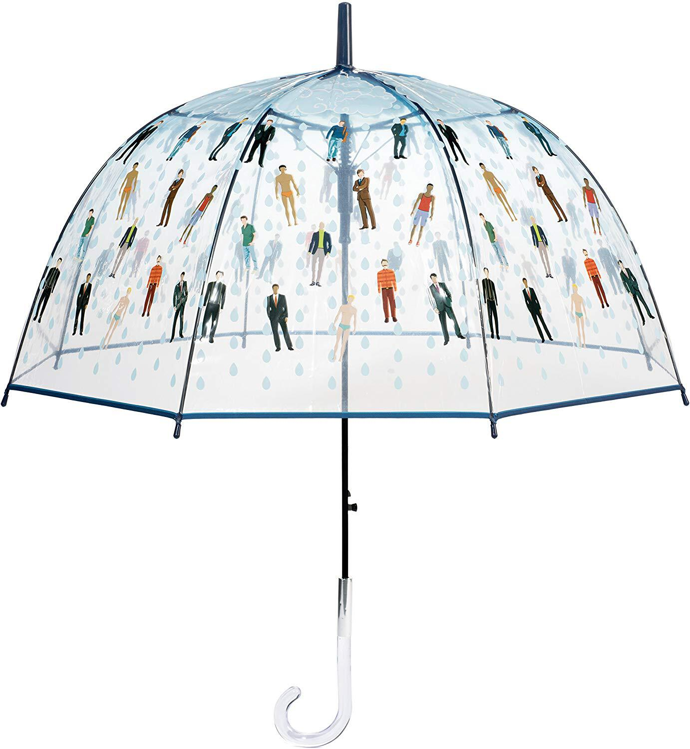 photo of clear umbrella with raindrops and men on it funny white elephant gift