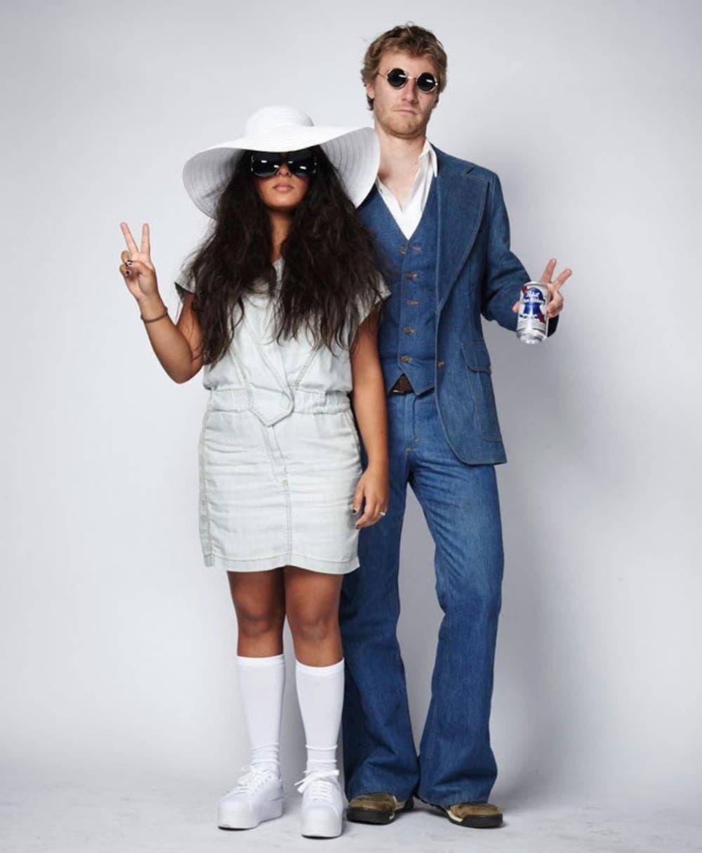 Man and Woman in DIY Couples costume: John Lennon and Yoko Ono
