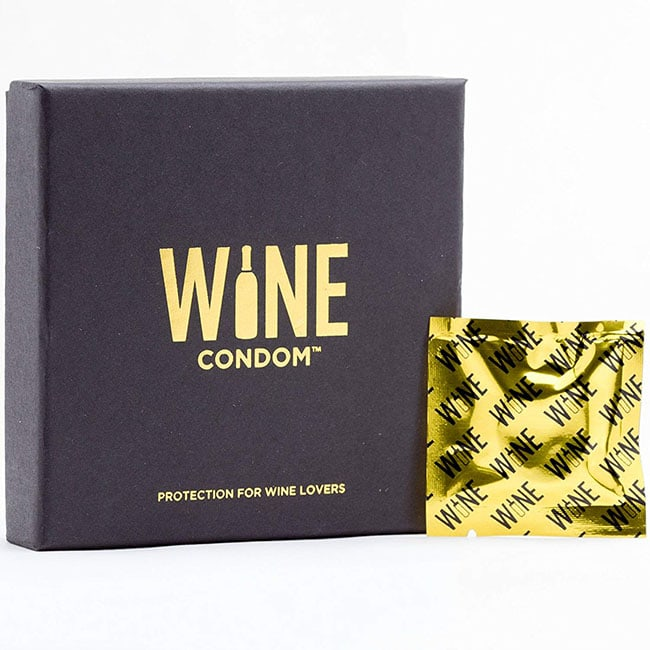 photo of a box of wine condoms white elephant gift