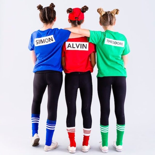 photo of three children dressed in Alvin & The Chipmunks DIY costumes