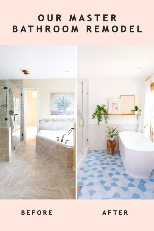before and after of a floating bathtub in a bathroom remodel