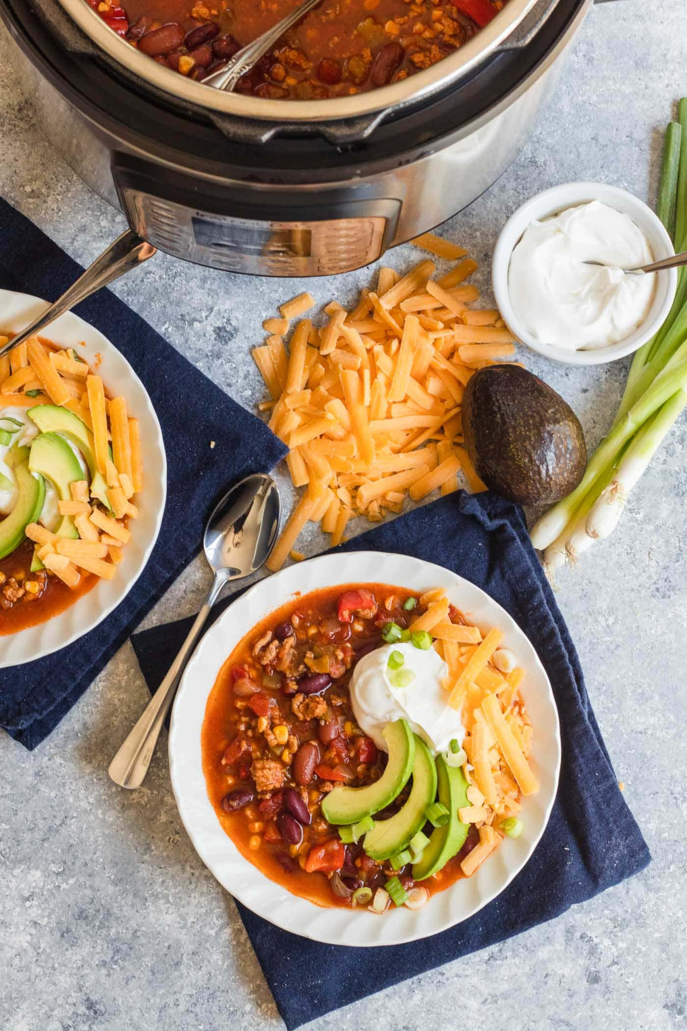 photo of one way to cook Turkey Chili in an instant pot by top Houston lifestyle blogger Ashley Rose of Sugar & Cloth
