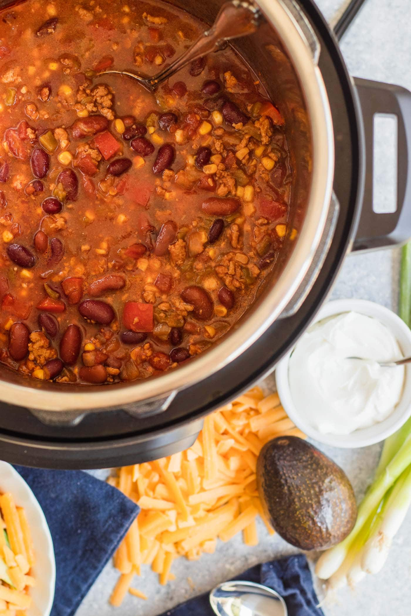 photo of the Best Easy Turkey Chili Recipe cooking in an Instant Pot by top Houston lifestyle blogger Ashley Rose of Sugar & Cloth