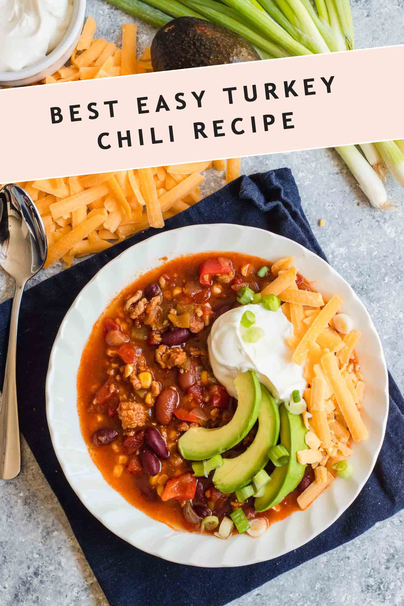 Photo of the Best Easy Turkey Chili Recipe & garnish ideas by top Houston lifestyle blogger Ashley Rose of Sugar & Cloth