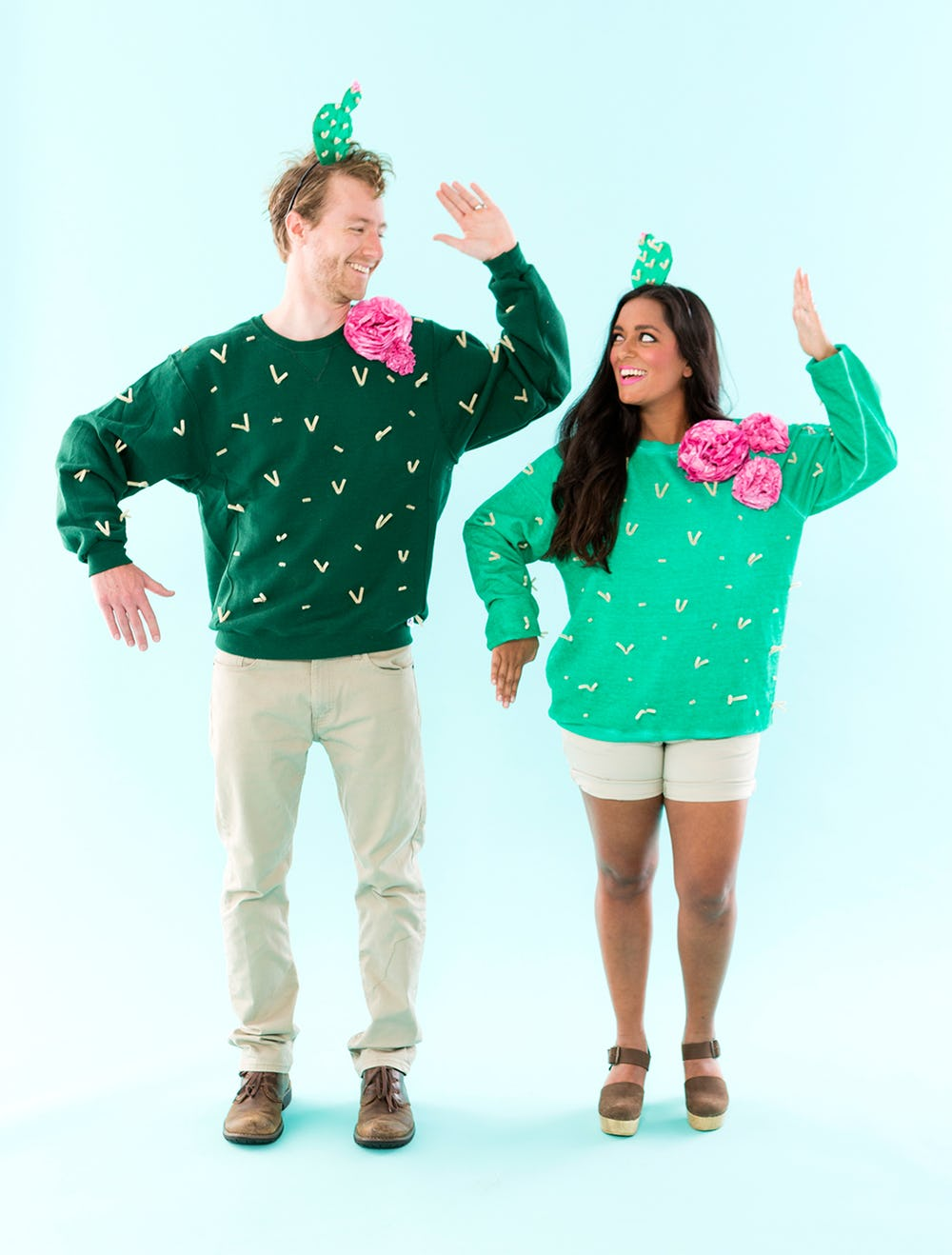 Man and Woman in DIY Couples costume: Cacti