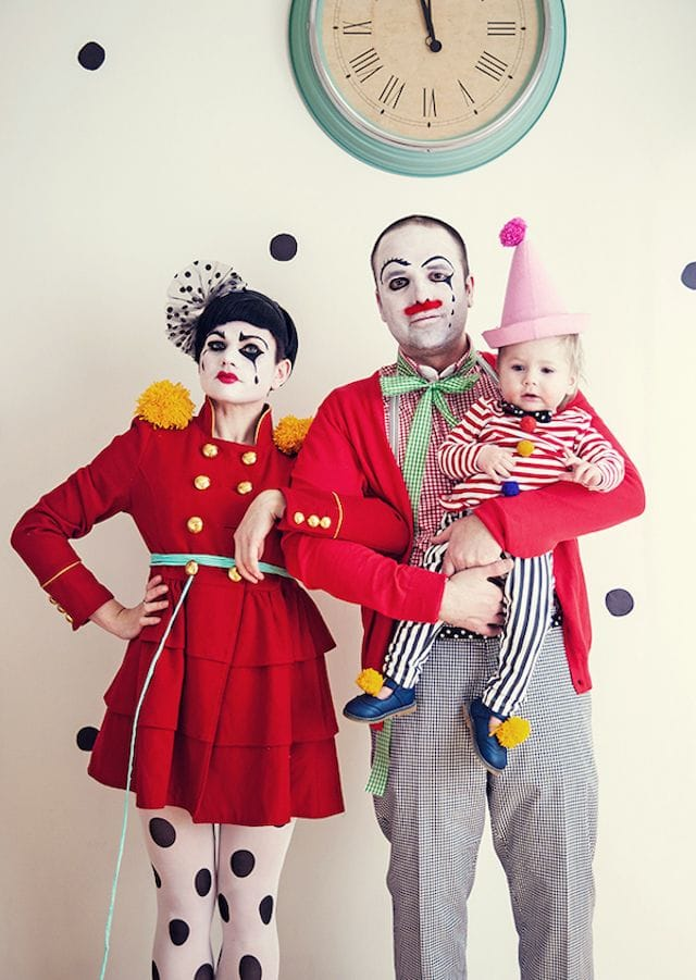 Photo of family in clown Halloween costumes