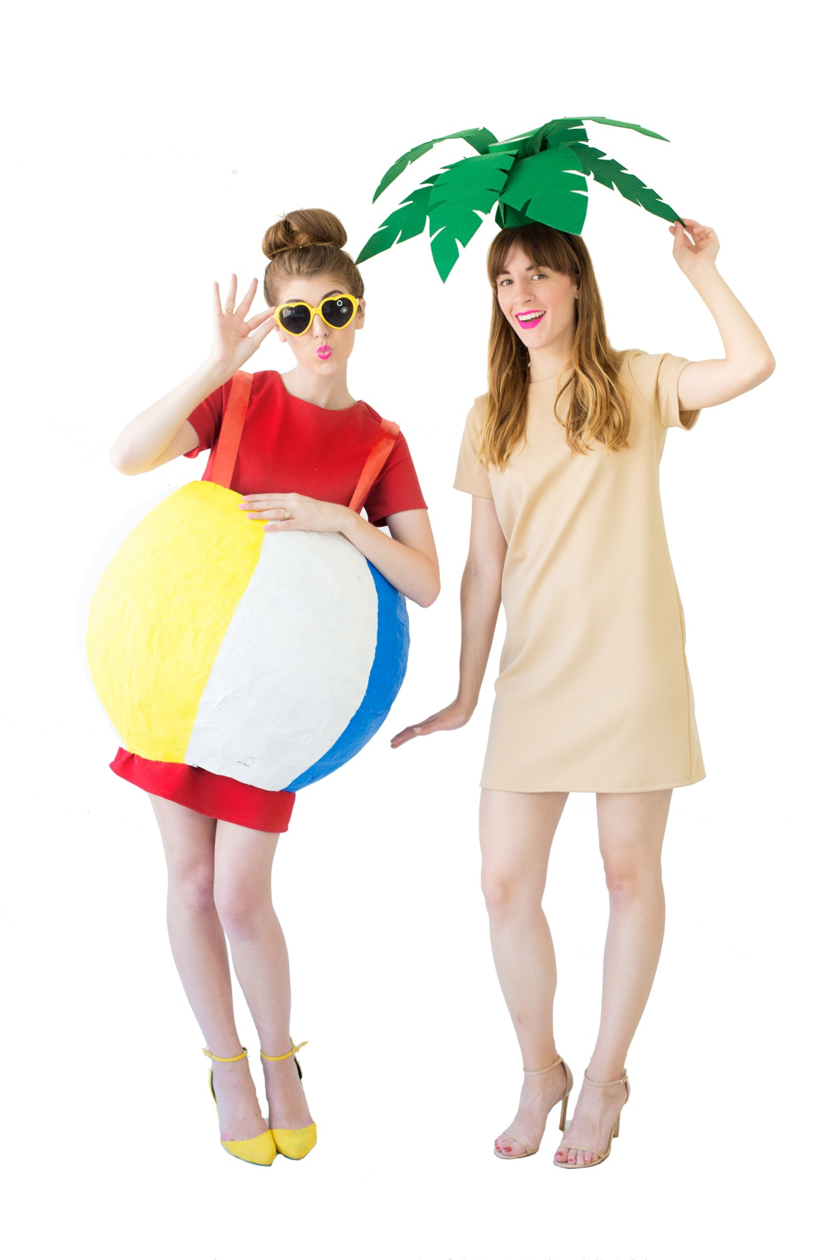 Two women in DIY Couples costume: palm tree and beach ball